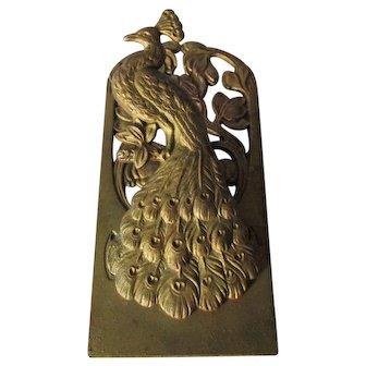 Antique Art Nouveau Peacock Paperclip, Letter Clip, Desk Memo Holder