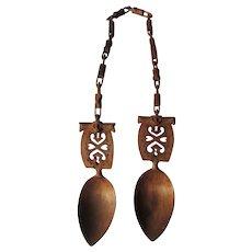 Beautiful Hand Carved Folk Art Scandinavian Wedding Spoons