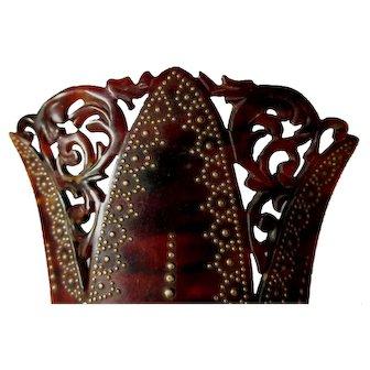 Rare Antique c1880s Victorian Hand Carved, Pique Hair Comb