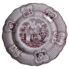 Antique c1840s Staffordshire Transferware Plate, Romantic Bologna Pattern