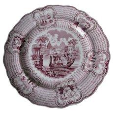 Antique c1840s Staffordshire Transferware Plate, Romantic Bologna Pattern