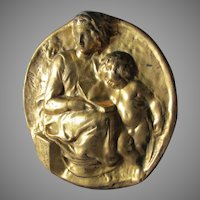 Michelangelo's, Pitti Tondo Sculpture, Plaque Madonna & Child
