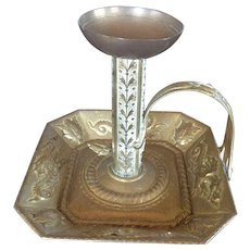Antique English Brass Push Up Candlestick with Gargoyles, Dragons