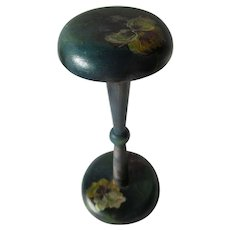 Lovely Hand Painted Hat, Millinery Display Stand with Pansy Flowers