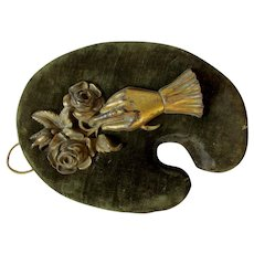 Antique Victorian Brass Plaque, a Ladies Hand Holding Roses