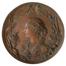 Antique 19thC Repousse Copper Plaque of a Lady with a Parrot