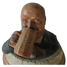 Antique Terra Cotta Tobacco Humidor of a Gentleman Drinking in a Barrel