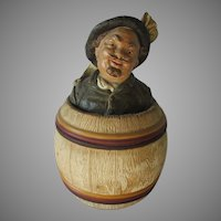 Antique Terra Cotta Tobacco Humidor of a Gentleman Laughing