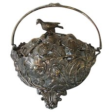 Victorian Silverplate Basket with Morning Glory Flowers and Bird