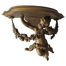 Antique Cherub Angel with Flower Garland Shelf, Hand Carved Wood