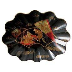Antique 19thC Asian Paper Mache Scalloped Bowl