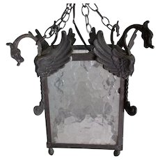 Antique Hanging Light Fixture with Gargoyles or Dragons