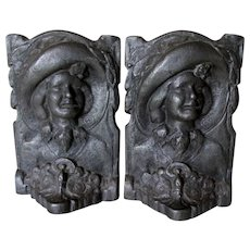 Antique Cast Iron Bookends with Lady Wearing a Hat, Sufferage, Driving