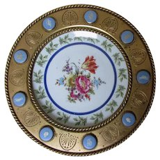 Antique Bronze Tazza, Calling Card Tray with Wedgwood Medallions