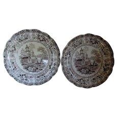 Pair c1830s Staffordshire Transferware Plates, Venetian Scenery, Enoch Wood