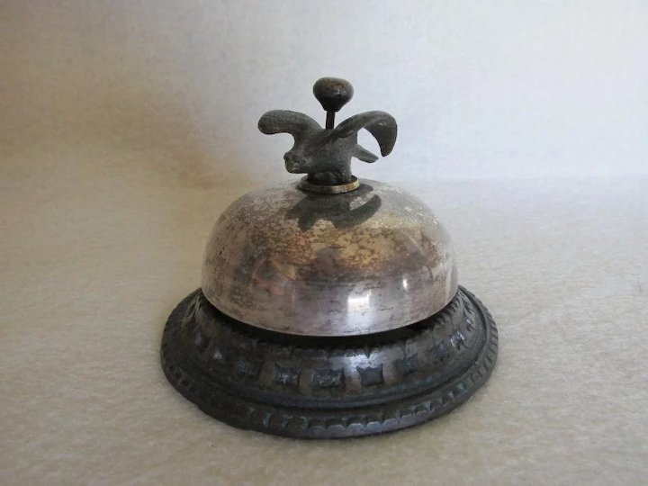 Antique c1860s Hotel, Desk Bell with Bird Finial - Antique C1860s Hotel, Desk Bell With Bird Finial : Neatcurios Ruby