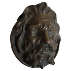 Antique Bronze Architectural Element of Gentleman with Beard, Plaque