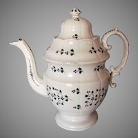 Antique c1820-30s Staffordshire Soft Paste Sprig Pattern Large Teapot