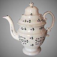 Antique c1820-30s Staffordshire Soft Paste Sprig Pattern Large Teapot