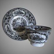Rare c1810s Robert Hamilton Philosopher Pattern Staffordshire Transfer Cup Saucer