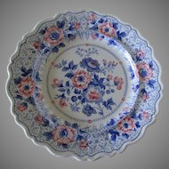 Rare Bi Color Staffordshire Transferware Plate, Kaleidoscope Pattern