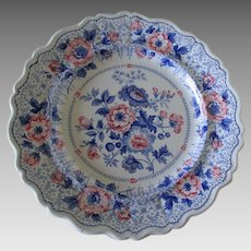 Rare Bi Color Staffordshire Transferware Plate, Kaleidoscope Pattern