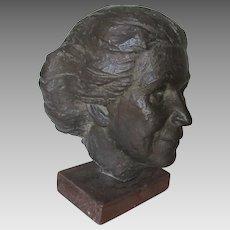 Bronze Bust of a Lady, Listed Artist Allen Harris (1924-1970)