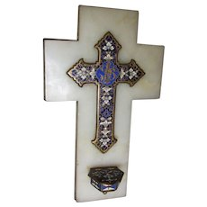 Lovely Antique French Champleve  Enamel Holy Water Font, Cross
