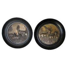 Pair Nice Antique German Plaques of Buck & Deer, Original Frames