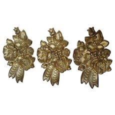 Set of 3 c1870s Gilded Brass Architectural Ornaments, Curtain Drape Tiebacks