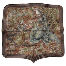 Fine Antique French Silk & Metallic Thread Tapestry, Queen with Phoenix