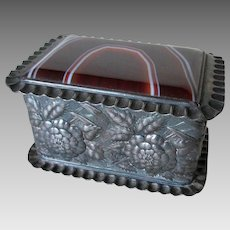 Beautiful Antique Agate & Silverplate Jewelry Box by Simpson Hall Miller