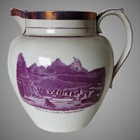 Rare Sunderland Soft Paste Pitcher, Saint Helena Island, Transferware