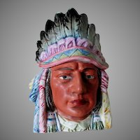 Antique Native American Indian Chief, Majolica, Tobacco Humidor