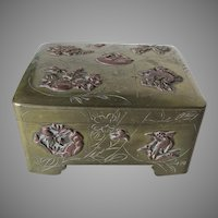 Antique Japanese Mixed Metal & Engraved Box with Birds, Flowers