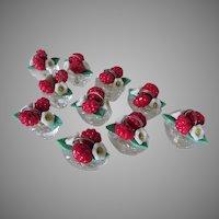 Set of 10 Art Deco Place Card Holders, Flower Baskets, Czechoslovakia