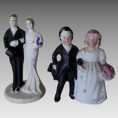 2 Circa 1920s Art Deco Bisque Wedding Cake Toppers, Germany & Japan