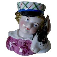 Charming 19thC Boy & Pet Rabbit Vase, Old Paris or German