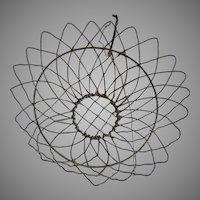 Antique Wireware Hanging Basket with Sunflower Motif