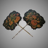 Pair Lovely Victorian c1860s Paper Mache Fans with Floral Motif