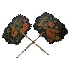 Pair Lovely Victorian c1860s Paper Mache Fans with Floral Motif