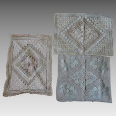3 Lovely Circa 1910s Edwardian Lace Pillows in Very Good Condition