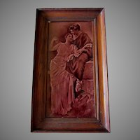 Antique c1880s Art Pottery Tile, Sgraffito Design of Loving Couple