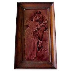 Antique c1880s Art Pottery Tile, Sgraffito Design of Loving Couple