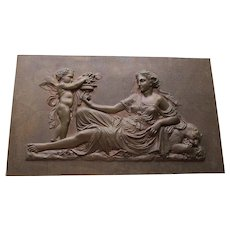 Lovely Antique Bronze Plaque of Cherub Angel, Lady and a Lioness