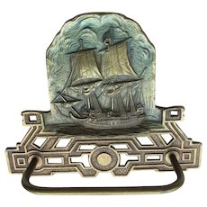 Arts & Crafts Towel, Tie, Jewelry Rack with Sailing Ship
