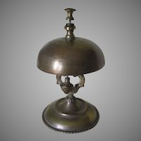 Antique c1860s Hotel, Desk Bell with Marble Base