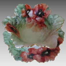 Lovely T & V Limoges Hand Painted Serving Dish with Poppy Flowers