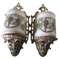 Pair c1920s Art Nouveau Sconces by Lightolier, Original Slip Shades