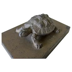 Antique Figural Turtle, Tortoise Cast Iron Paperweight, Desk Accessory